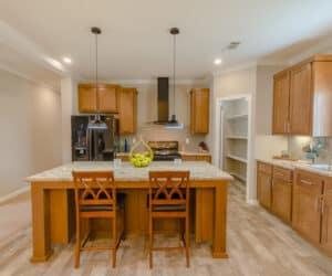 Furnished Kitchen from house model Oak Hill made by Pratt Homes
