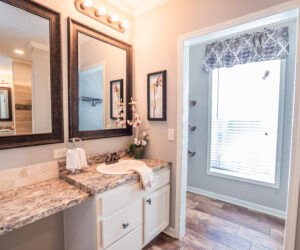 Master bathroom at the Pratt Homes model Lee Ann