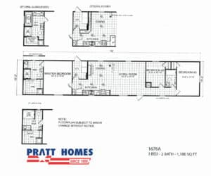 The 1676A is great starter home, and can be found at Pratt Homes