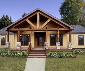 Wooden exterior of the house made by Pratt Modular Homes