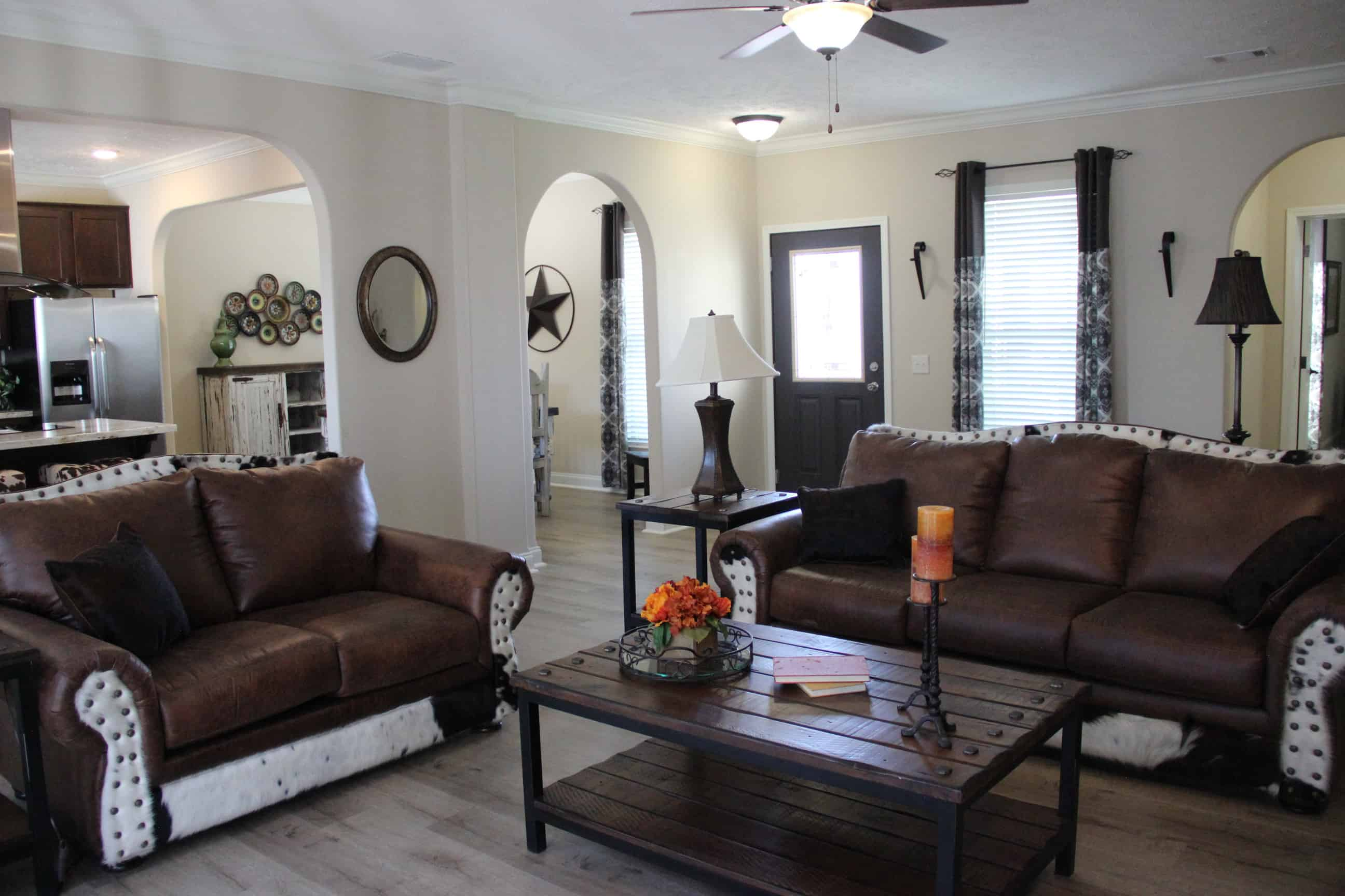 Furnished living room from house model Brian Ritz