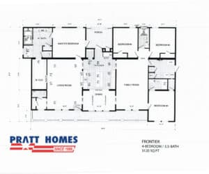 Floor plan for home model Frontier made by Pratt Homes