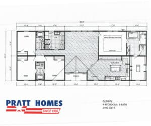 Floor plan for home model Gunny made by Pratt Homes