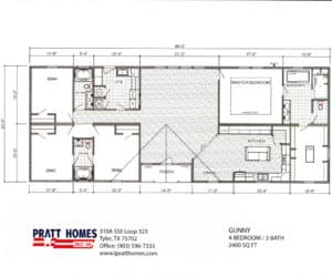 Floor plans for Home model Gunny made by Pratt from Tyler