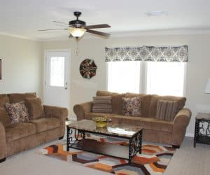Furnished living room in house model Angela from Pratt houses in Tyler Texas