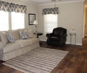 Living room area in house model Angela from Pratt houses in Tyler Texas