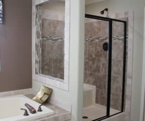 Bathtub and shower in house model Angela from Pratt houses in Tyler Texas