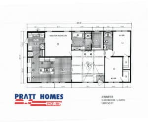 Floor plan for home model Jennifer made by Pratt Homes