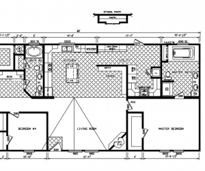Floor Plan at house model Oak Hill mada by Pratt Modular Homes