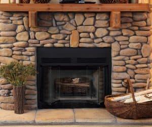 Fireplace from modular house model Adirondack
