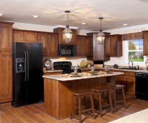 Kitchen island from modular house model Adirondack