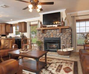 Living room from modular house model Adirondack