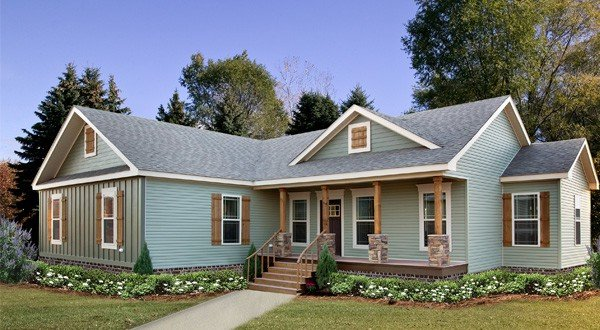 Pastelcolor exterior of the house made by Pratt Modular Homes