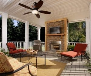 High Sierra Modular Home porch with fireplace