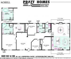 Schell Modular Home floor plan made by Pratt