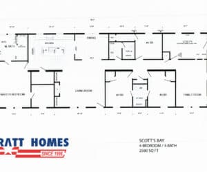 Floor plan for home model ScottsBay made by Pratt Homes