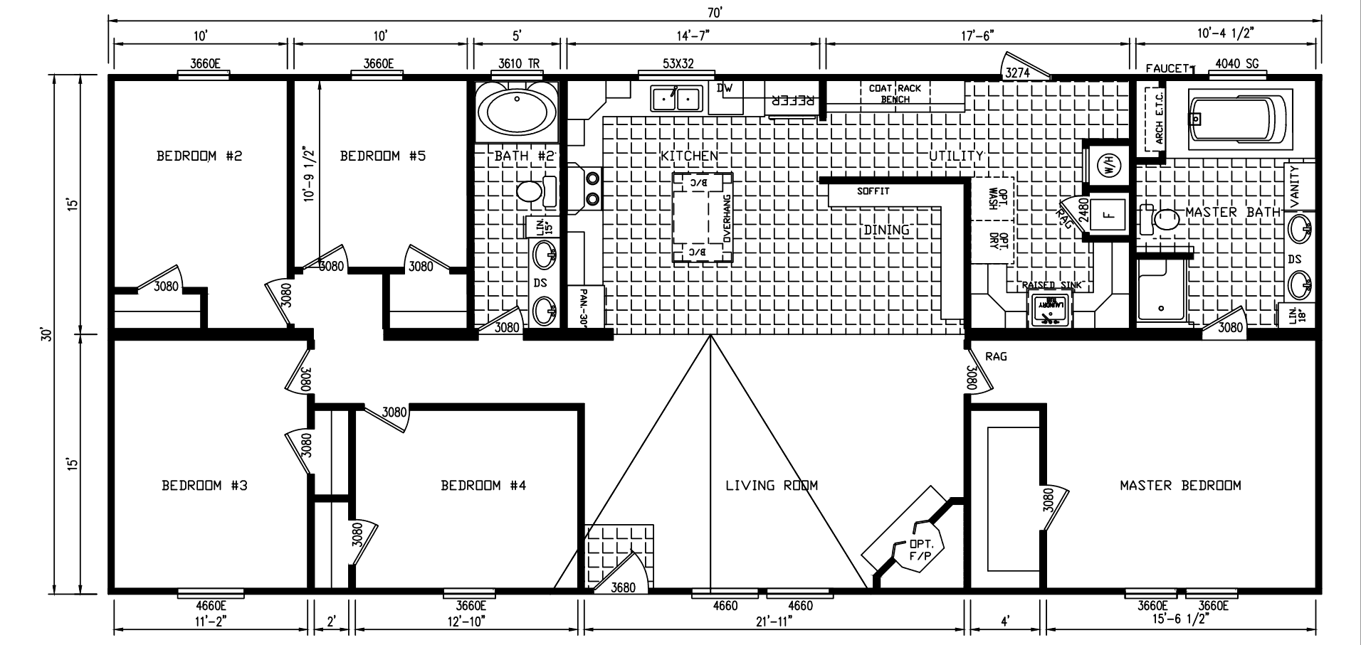 Floor Plan for house model Oak Hill by Pratt