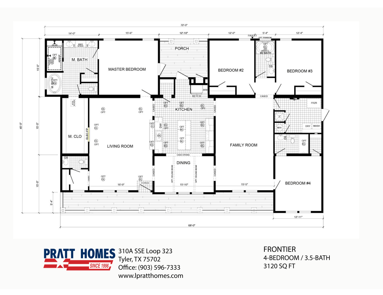 Floor Plan for house model Frontier by Pratt from Tyler Texas