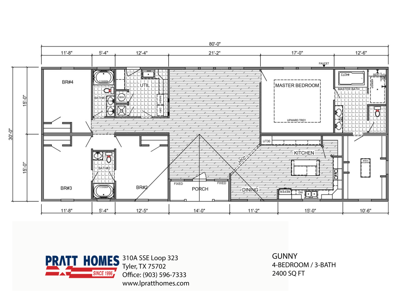 Floor Plan for house model Gunny by Pratt from Tyler Texas