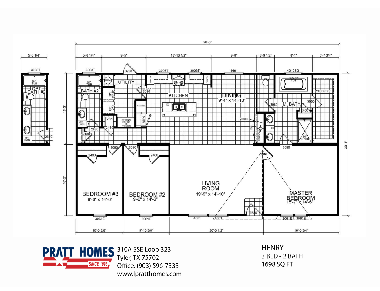 Floor Plan for house model Henry by Pratt from Tyler Texas