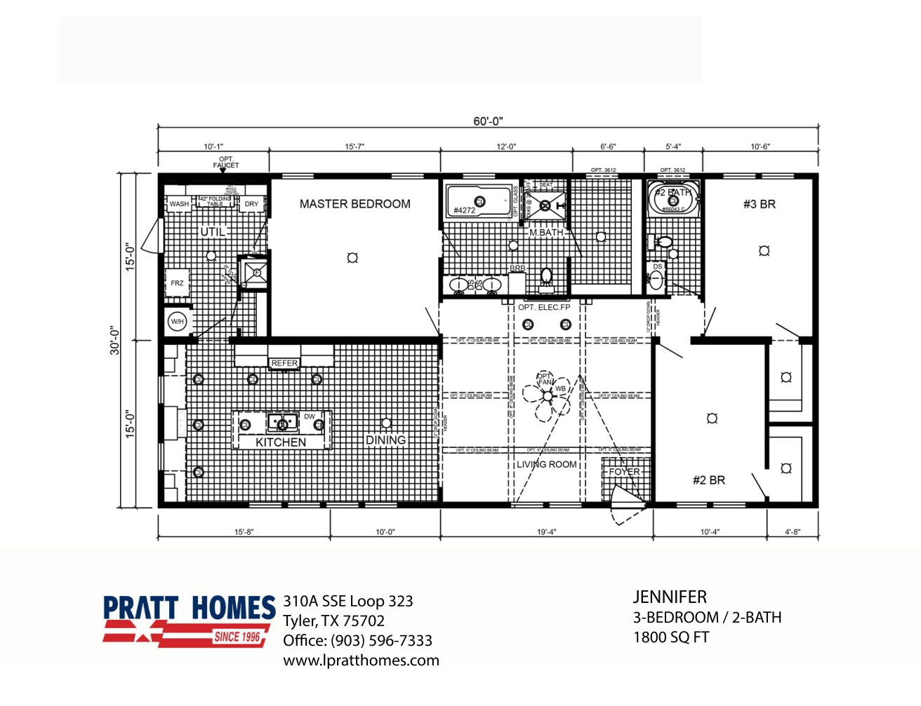 Floor Plan for house model Jennifer by Pratt from Tyler Texas
