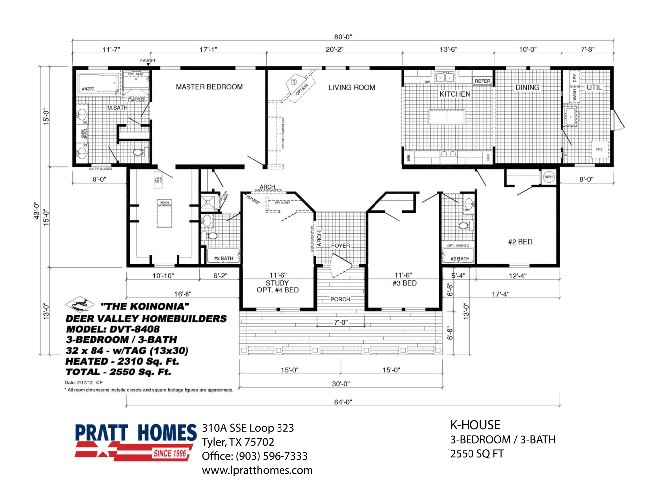 Floor Plan for house model KHouse by Pratt from Tyler Texas