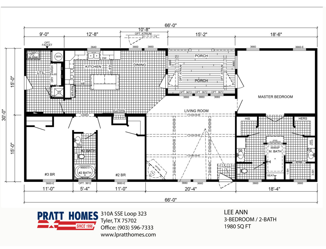 Floor Plan for house model Lee Ann by Pratt