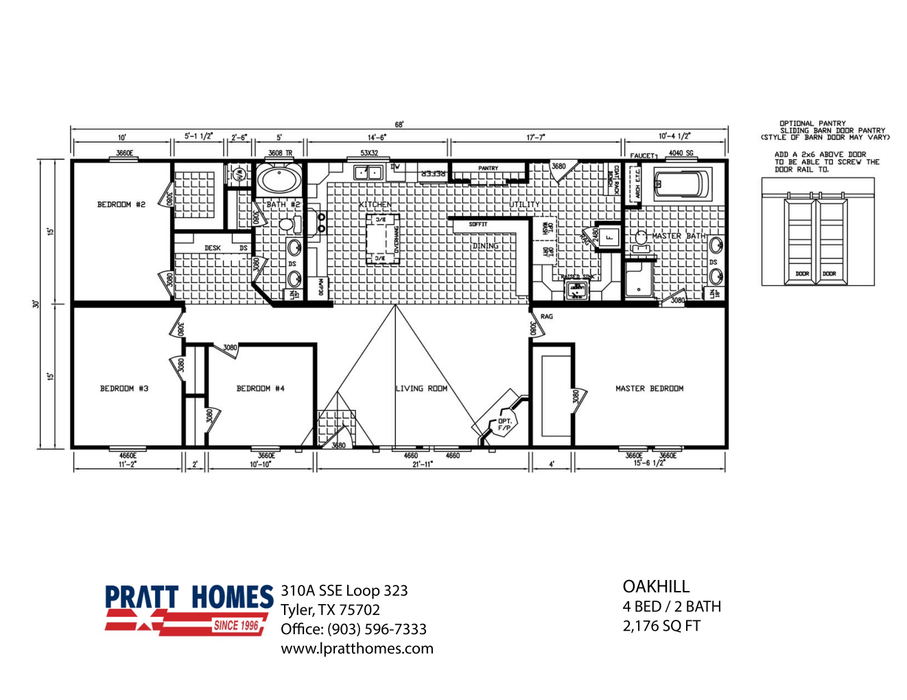 Floor Plan for house model Oak Hill by Pratt from Tyler Texas
