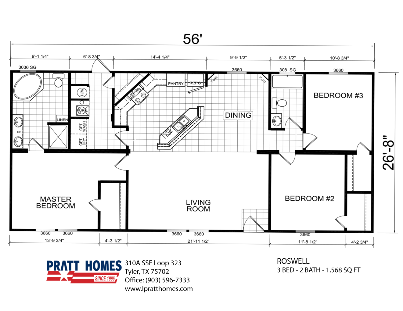 Floor Plan for house model Roswell by Pratt from Tyler Texas