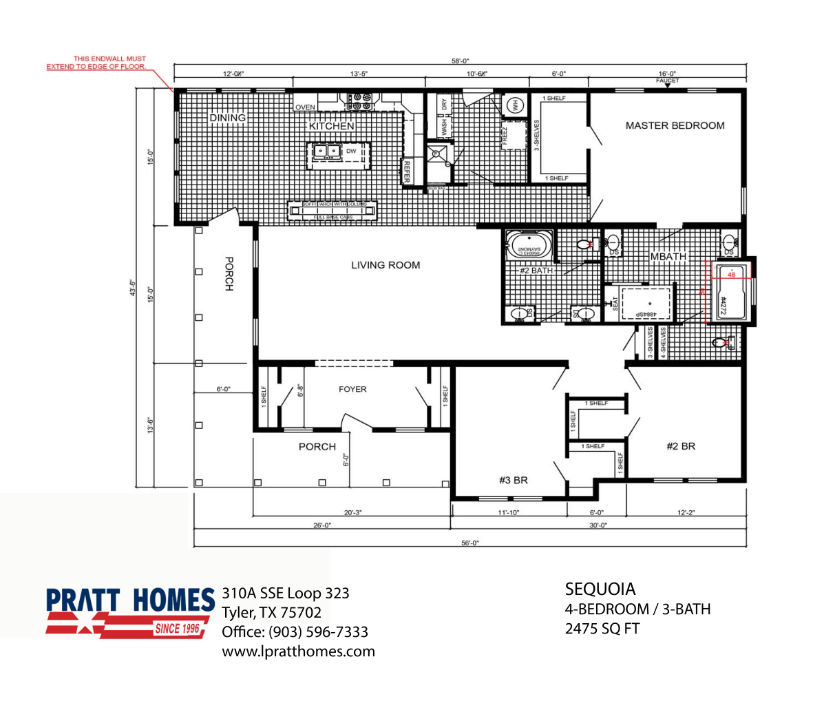 Floor Plan for house model Sequoia