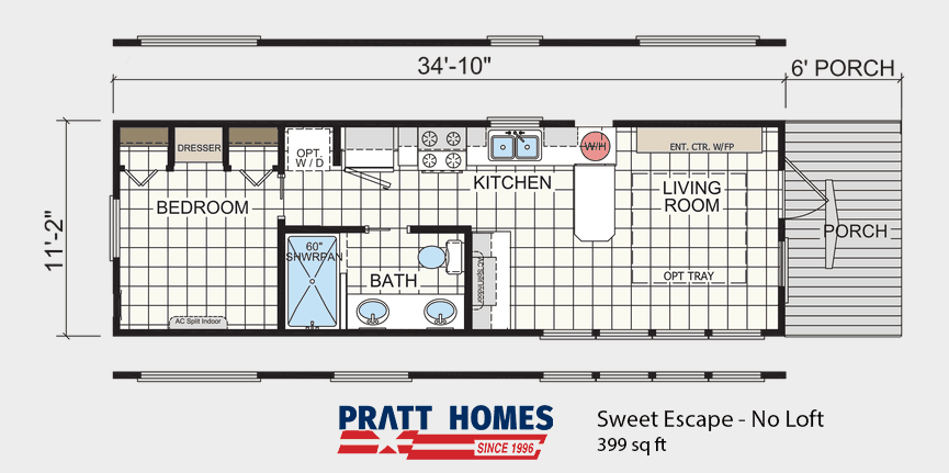 Floor Plan of house model Sweet Escape No Loft made by Pratt from Tyler Texas