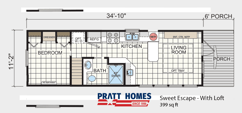 Floor Plan of house model Sweet Escape With Loft made by Pratt from Tyler Texas