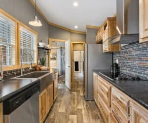 Interior of incredible tiny home model Mindy Barnhouse made by Pratt