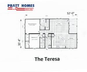Floor plan for home model The Teresa made by Pratt Homes