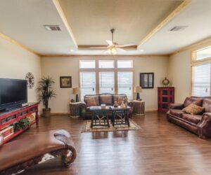 Interior details of living room from Pratt Homes Model Lodge 3