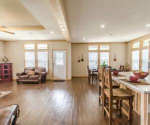 Wooden details of living room from Pratt Homes Model Lodge 3
