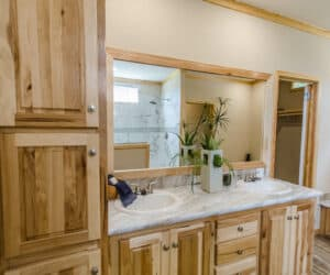 Wooden bathroom details from Pratt Homes Model Lodge 3