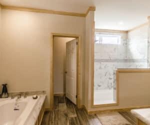 Entrance to the bathroom at Pratt Homes Model Lodge 3