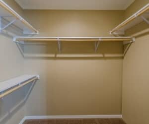 Shelves in closet space made by Pratt Homes
