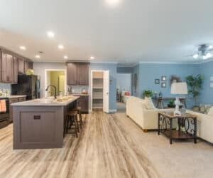 Large kitchen and dining area