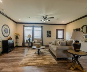 Living Room in the house model Eastwood made by Pratt Homes from Tyler