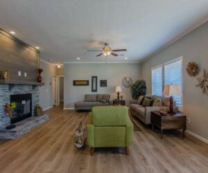 Living room in the house model Lakeside made by Pratt Homes from Tyler