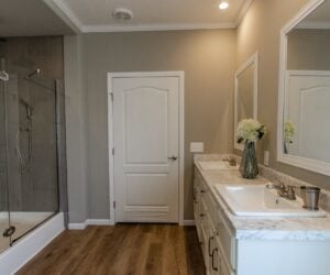 Master bathroom with the shower in the house model Lakeside made by Pratt Homes from Tyler