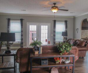 Living room in the house model Carlton made by Pratt from Tyler