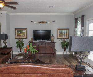 Living room area in the house model Carlton made by Pratt from Tyler