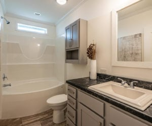 Bathroom in the house model Mattie made by Pratt from Tyler