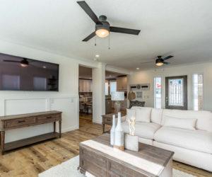 Living room area in the house model Mattie made by Pratt from Tyler