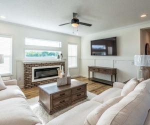 Living room in the house model Mattie made by Pratt from Tyler