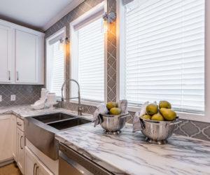 Sink in the kitchen area in house model Mattie made by Pratt from Tyler