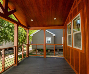 side porch details at the incredible tiny home Rustic